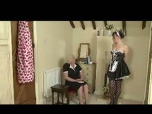 old Domme Spanking the maid