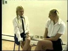 Two School sluts Spanking one