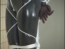 Black catsuit and bondage