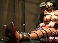 Restrained brunette Tickled and Tormented