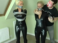 Lucy and Brooke - Catsuit and duct tape