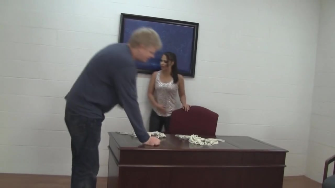 Tight Leather Jeans on Office Table