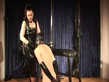 Ms Silvia training her male slave to suck cuck and eat cum.