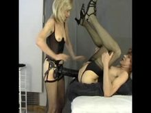 Extremely Huge Strap-on in Sissy Ass