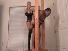 Blonde Mistress Pegging Him in Stock