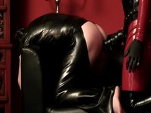 Latex Mistress Pegging with Huge Strap-on