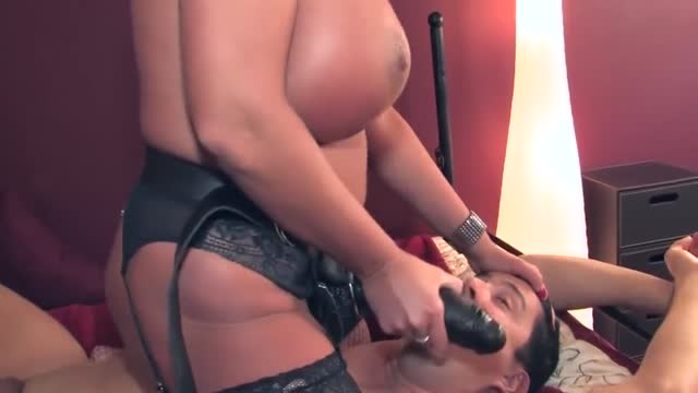 Hot pegging by busty dominant woman