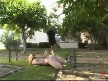 Slave Girls Outdoors in the mansion