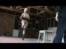 Ponygirl trained in stables