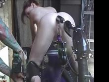 Restrained for fucking machine