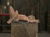 Ball gagged blonde in ropes fucked