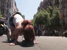 stunning Spanish redhead tied up, stripped bareback, and poked on the streets