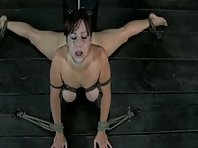 Bound by her tits while throat fucked