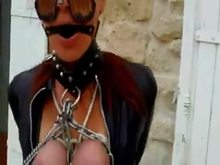 Nipple Clamps Chains and Bound titties Outdoors