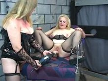 Dildo Drill for Restrained blondy