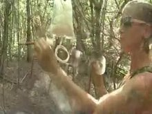 Bizarre Enema in the forest