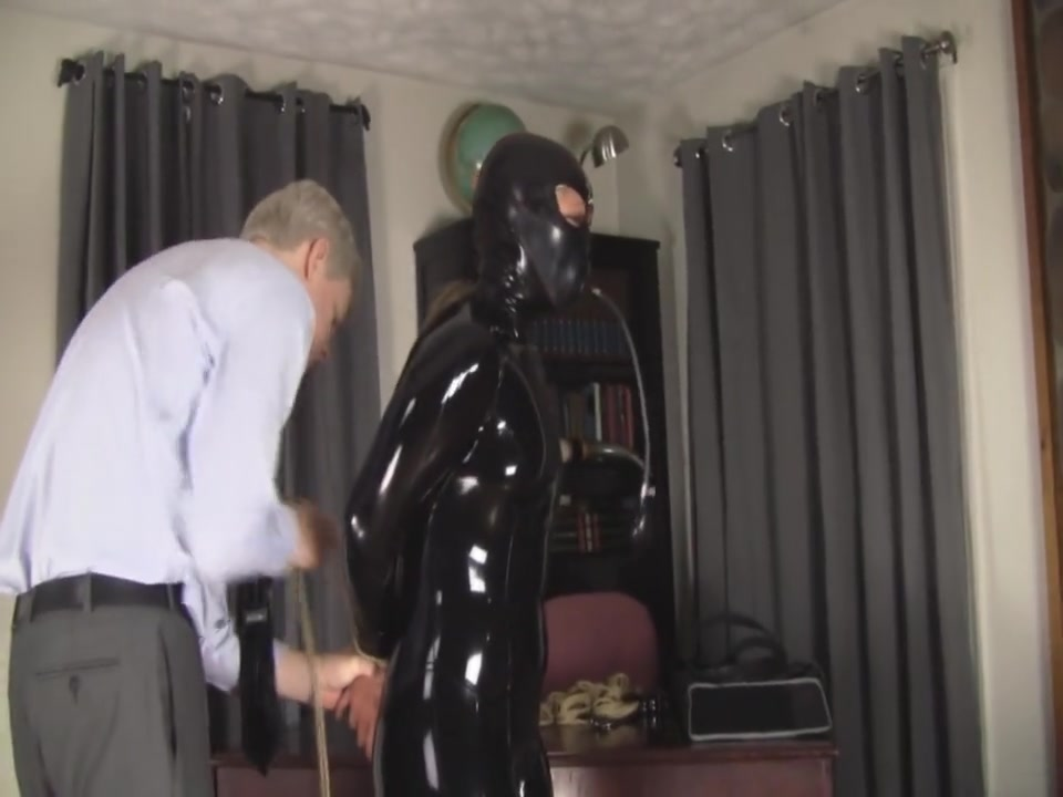 catsuit and inflatable gag
