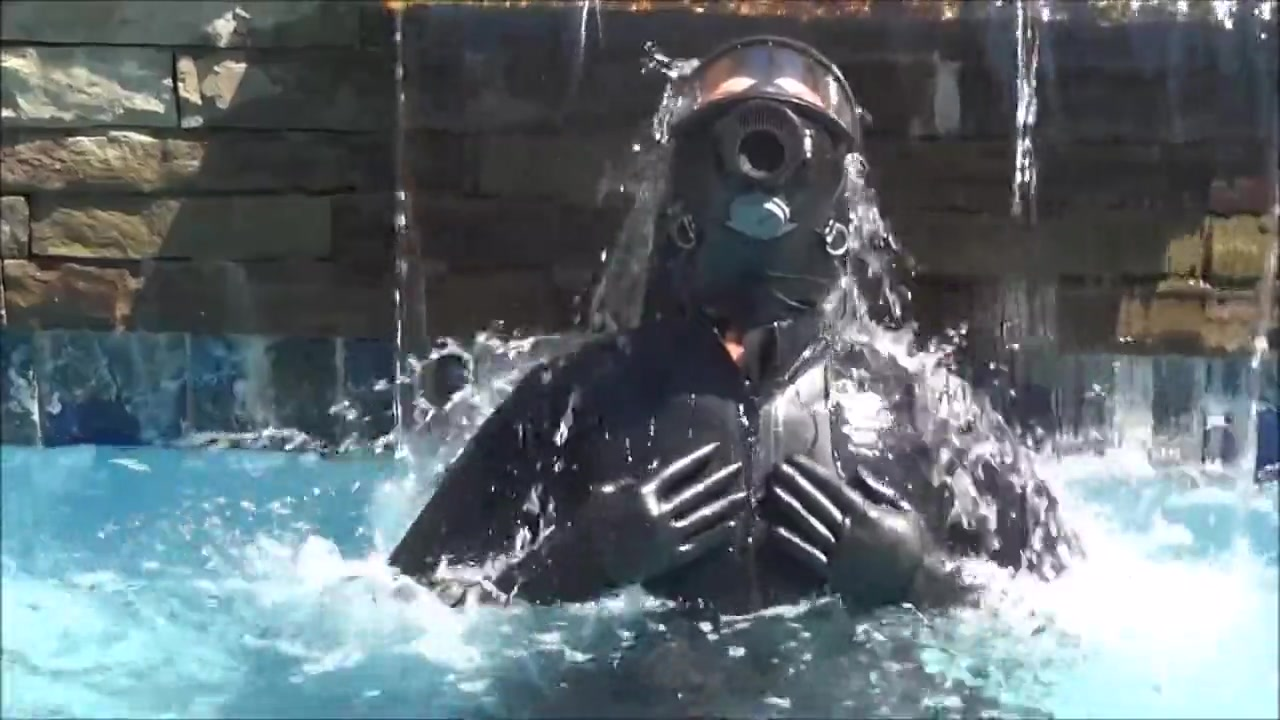 Latex and gas mask pool masturbation