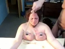 Two studs torturing boobies Homemade Tit torture