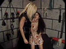 Lesbian tit torture in dungeon