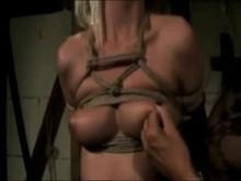 Nipple torture in bondage