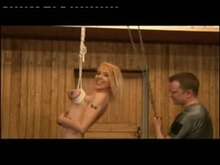Breast bondage - Hanged by boobies