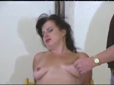 Two studs torturing slut's boobs