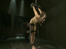 Sub with clamped nipples and ball gag dildoed
