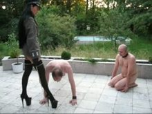 German Goddess Degrading two male slaves