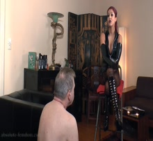 Hooded male slave's anal training