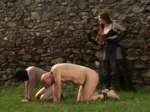 Male slaves whipped hardcore outdoors