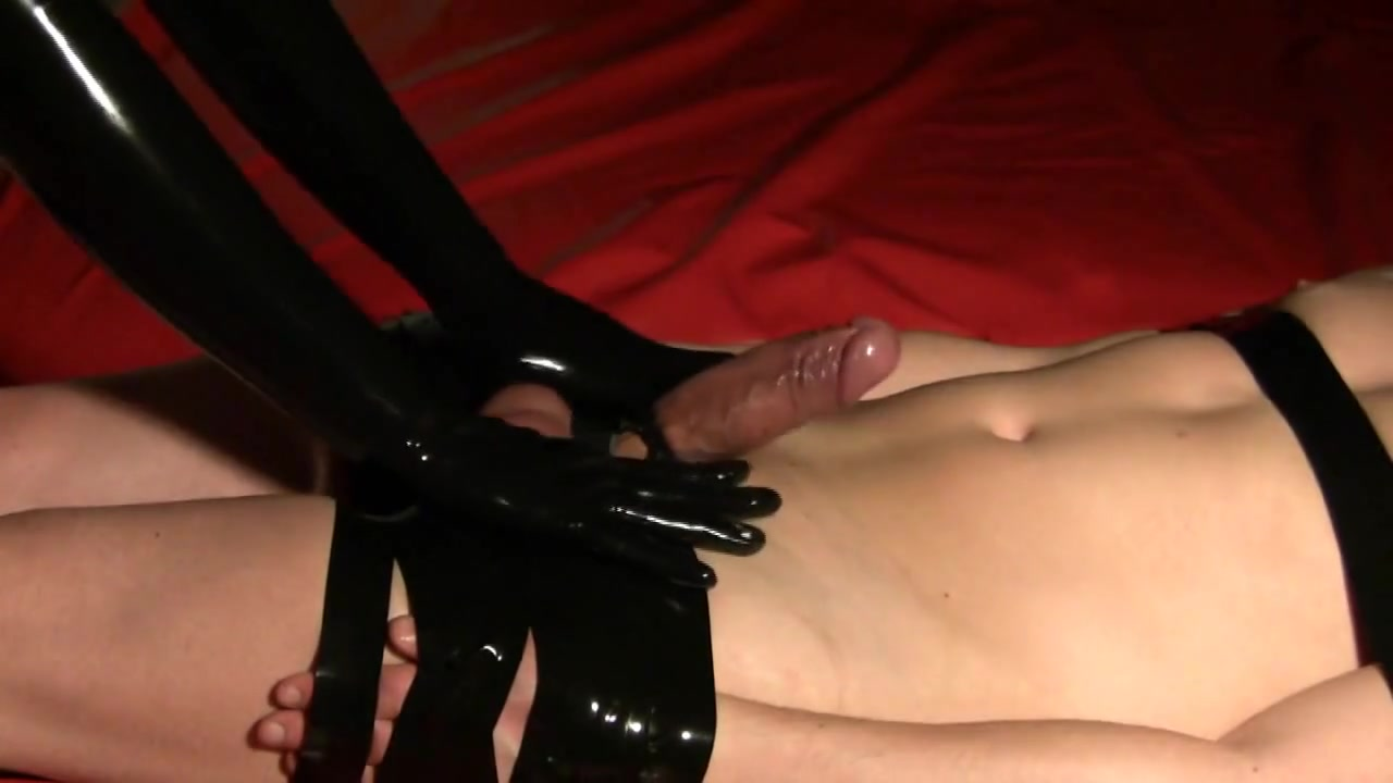 Torturous Handjob with latex gloves for bound dick and balls