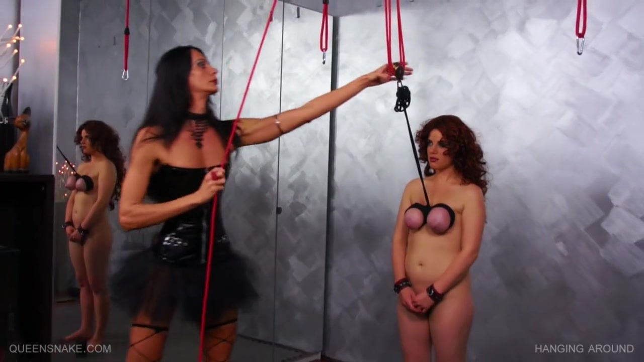 Queensnake - Hanged by breasts and whipped