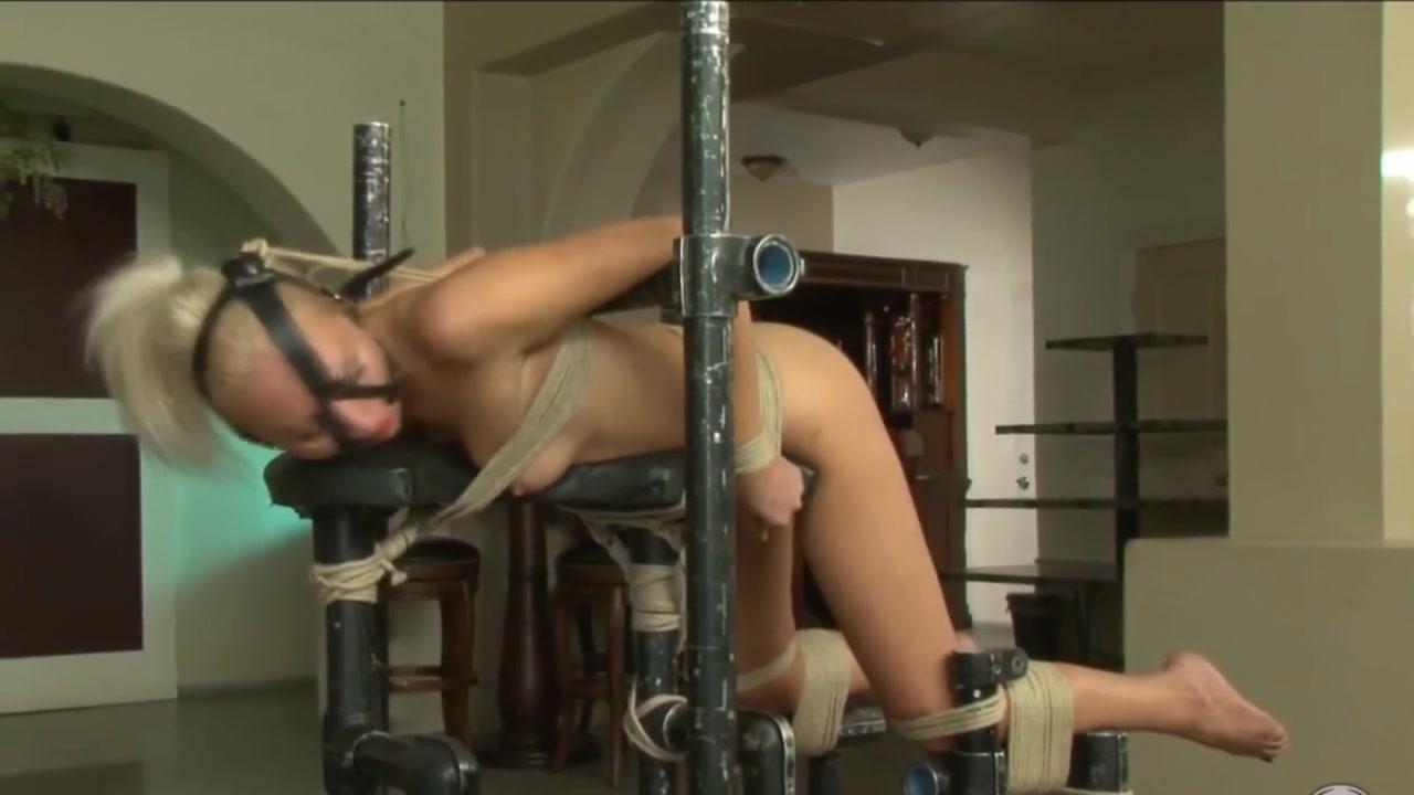 Tied up blonde vibed to sperm