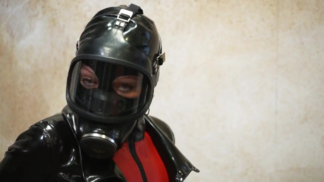 Restrained in Latex and Gasmask