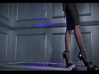 Raping his cock with high heels