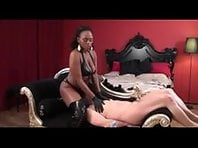 Interracial Black Mistress Sounding White Boy's Cock