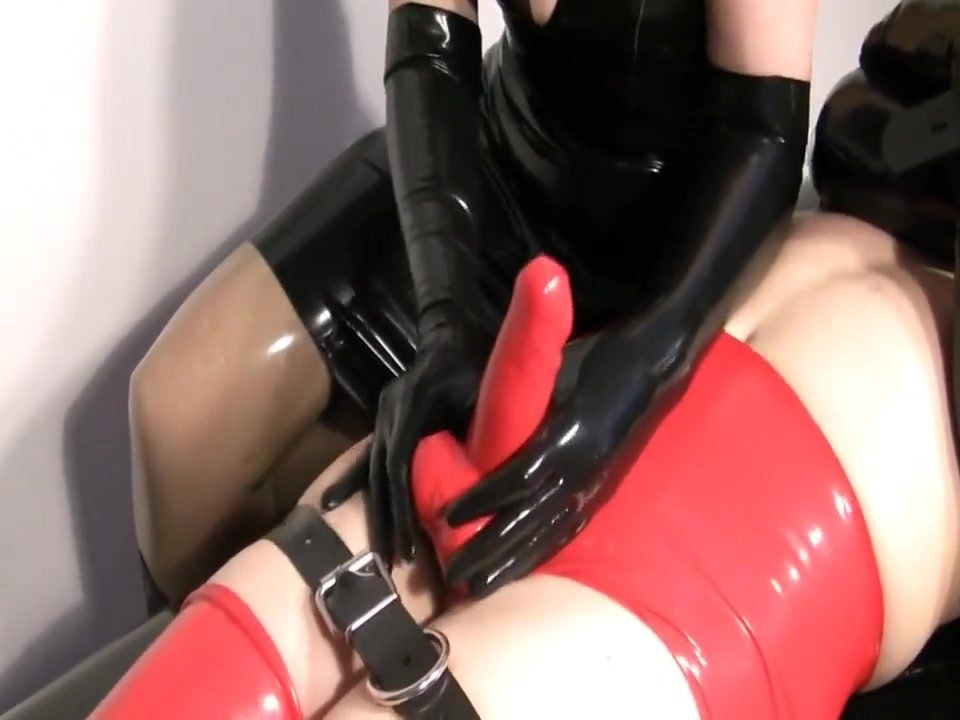 Femdom blowjob for penis and Balls in Latex