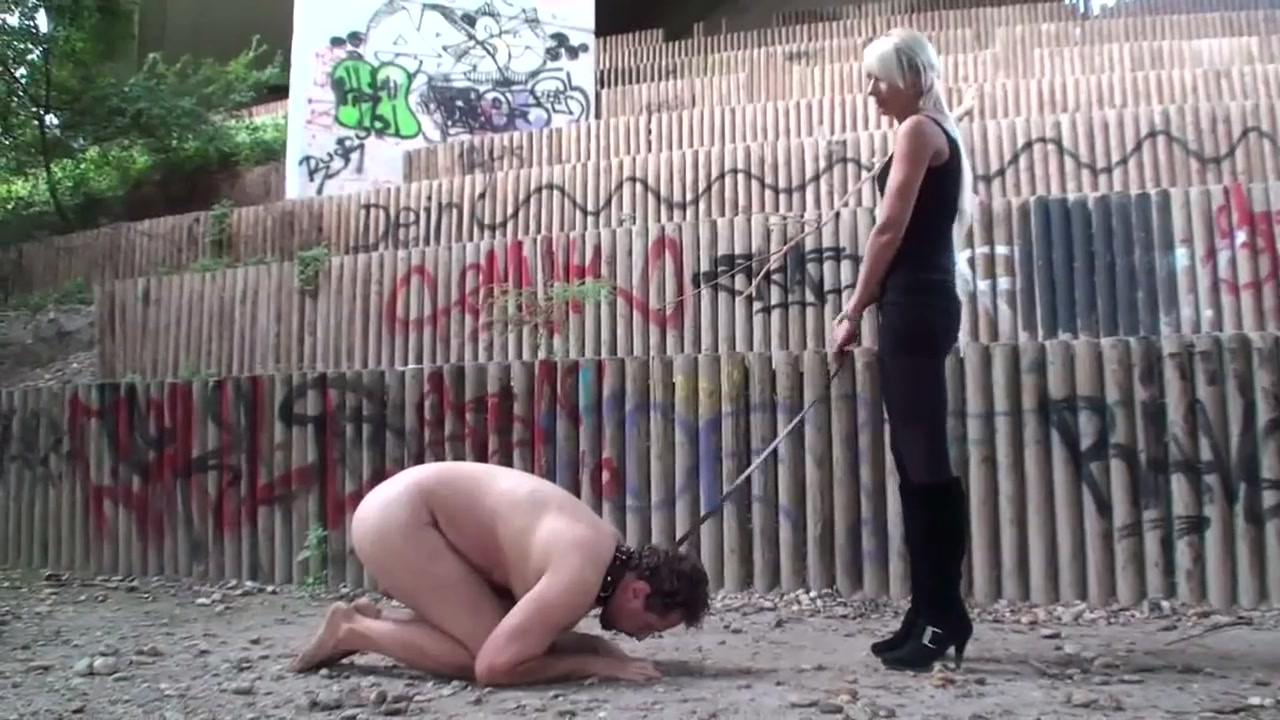 Mistress taking Her Doggy Out for a Walk