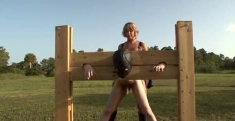 Locked to Pillory for Pegging