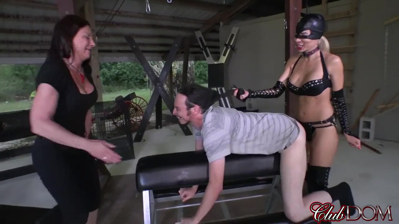 Kylie Rogue and Venus Pegging a Slave man