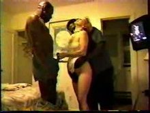 lovely white yellow-haired sexed by group of ebony bulls while hubby films