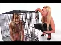 Caged pet girl used