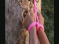 Bondage Outdoors - Black Sub Girl White Mistress