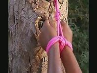 Bondage Outdoors - Black Sub Girl White Mistress