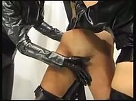 Rubber Mistresses with Slavegirl