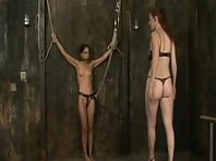 Brunette Restrained on Wall - Lesbian