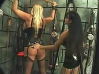 Busty Lesbian Blonde and her Brunette Mistress in Dungeon