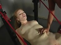 Machine fucked in Bondage