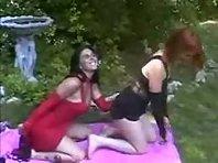 Homemade Lesbian BDSM outdoors